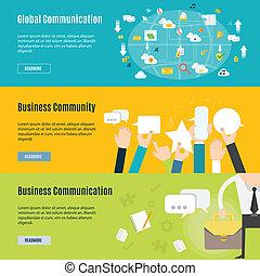 płaski, pojęcie, handlowe zakomunikowanie, element, projektować, ikona