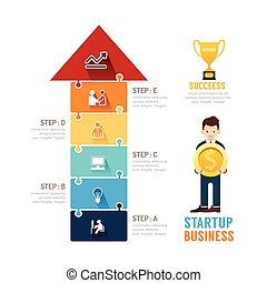 płaski, pojęcie, handlowy, startup, jigzaw, icons., wektor,...