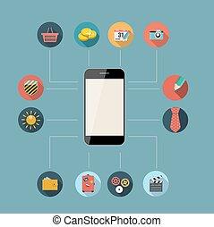 płaski, pojęcie, illustration., ruchomy, apps, telefon, wektor, projektować