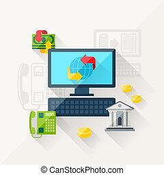 płaski, pojęcie, ilustracja, bankowość, projektować, online,...