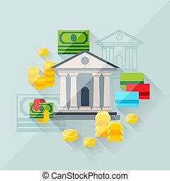 płaski, pojęcie, ilustracja, bankowość, projektować, style.