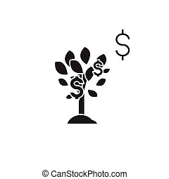płaski, pojęcie, ilustracja, drzewo, dolar znaczą, wektor, czarnoskóry, icon.