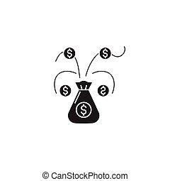 płaski, pojęcie, ilustracja, drzewo pieniędzy, znak, wektor, czarnoskóry, icon.