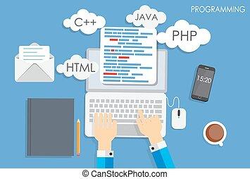 płaski, pojęcie, kodowanie, programowanie, ilustracja, wektor