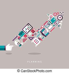 płaski, pojęcie, komplet, ikony, planowanie, projektować