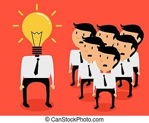 płaski, pojęcie, lekki, idea, wektor, projektować, biznesmen, bulwa