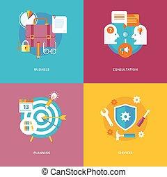 płaski, pojęcie, marketing., handlowe ikony, handlowy, planowanie, projektować, services., komplet, konsultacja