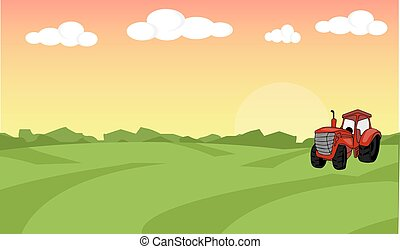 płaski, pojęcie, organiczny, illustration., zagroda, concept., tractor., tło., farmland, jadło, jakiś, krajobraz, design.