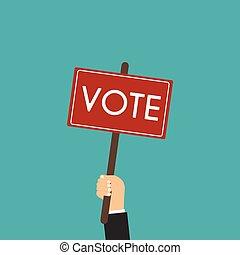 płaski, pojęcie, poster., wybór, głosowanie, prezydencki, styl