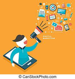 płaski, pojęcie, projektować, cyfrowy, handel