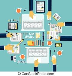 płaski, pojęcie, projektować, ilustracja, teamwork