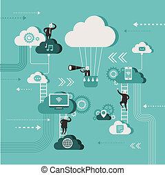 płaski, pojęcie, sieć, ilustracja, badać, projektować, chmura