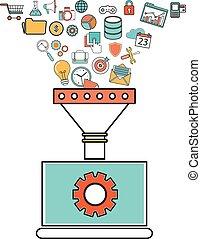płaski, pojęcie, szkic, filtr, tunel, cielna, pojęcia, ilustracja, twórczy, projektować, analiza, proces, dane