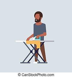 płaski, pojęcie, tło, szary, odzież, prasowanie, afrykanin, litera, prace domowe, długość, pełny, żelazo, dzierżawa, człowiek, amerykanka, facet, samiec, rysunek, gospodarowanie