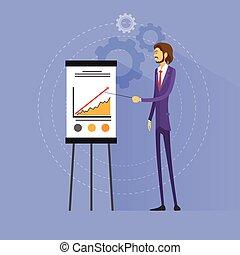 płaski, pokaz, wykres, wektor, projektować, biznesmen