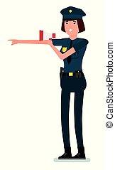 płaski, policja, odizolowany, ilustracja, tło., megaphone., wektor, projektować, oficer, samica, biały, rysunek, rozmawianie