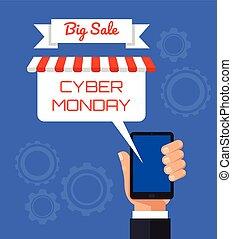 płaski, poniedziałek, banner., cyber, telefon, wektor, ilustracja, elektronowy, rysunek, mądry