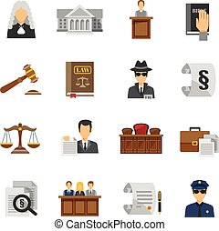 płaski, prawo, komplet, ikony