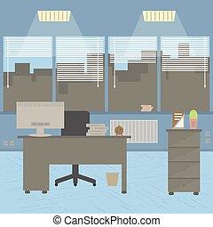 płaski, projektant, biuro, room., nowoczesny, desktop, wewnętrzny, design.