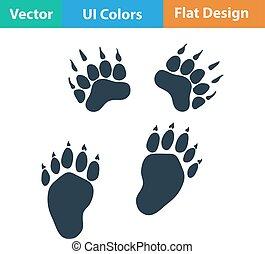 płaski, projektować, ikona, od, niedźwiedź, ślady