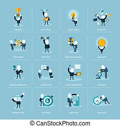 płaski, projektować, ikony, dla, handlowy