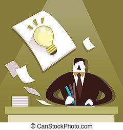 płaski, projektować, ilustracja, pojęcie, od, twórczy, natchnienie