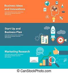płaski, projektować, pojęcia, dla, handlowy, finanse, planowanie, kupowanie badanie
