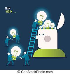 płaski, projektować, pojęcie, teamwork, ilustracja
