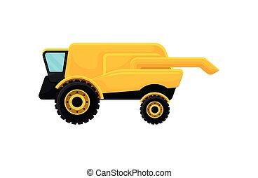 płaski, promo, afisz, machinery., harvester., element, wielki, wektor, połączyć, żółty, vehicle., rolniczy, gospodarka, chorągiew, albo
