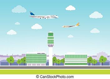 płaski, przelotny, aeroport końcowy, samolot, wektor, projektować