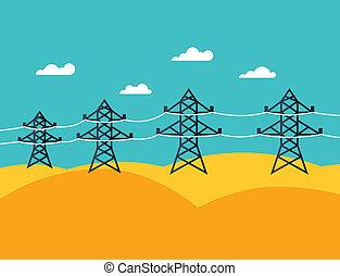 płaski, przemysłowy, dostarczcie energii elektrycznej...