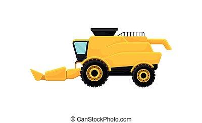 płaski, przemysłowy, zagroda, afisz, equipment., harvester., machinery., promo, jasny, wektor, połączyć, żółty, rolniczy, chorągiew, albo
