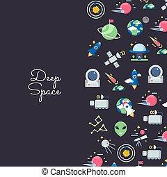 płaski, przestrzeń, tekst, ikony, ilustracja, wektor, miejsce, tło