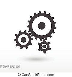 płaski, przybory, sieć, ruchomy, znak, wektor, infographics, gears., logo, icon., projektować