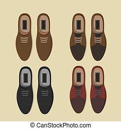 płaski, przypadkowy, zbiór, obuwie