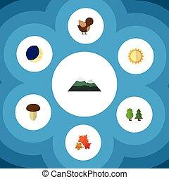 płaski, ptak, komplet, elements., bio, księżyc, kanadyjczyk,...
