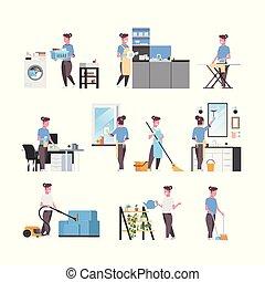 płaski, różny, komplet, litery, samica, housecleaning, prace domowe, gospodyni, długość, pełny, zbiór, tło, pojęcia, biały, rysunek