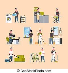 płaski, różny, komplet, mężczyźni, housecleaning, prace domowe, zbiór, długość, pełny, litery, pojęcia, samiec, rysunek