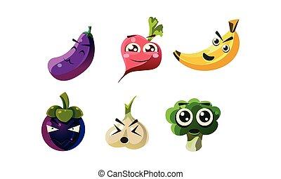płaski, różny, komplet, zabawny, warzywa, wektor, emotions., litery, owoce, humanized, rysunek