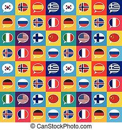 płaski, różny, kraje, próbka, mowa, seamless, projektować, bandery, bańki, styl