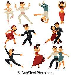 płaski, różny, ludzie, taniec, ikony, tańce, wektor, taniec,...