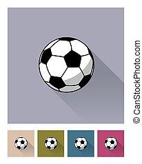 płaski, różny, piłka, illustration., set., piłka nożna, tła, styl, wektor, piłka nożna, ikona