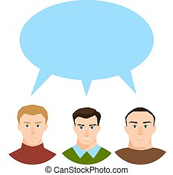 płaski, różny, pojęcie, grupa, ludzie, dyskusja, nowoczesny, odizolowany, współposiadanie, społeczeństwo, styl, mowa, tło, biały, bańka