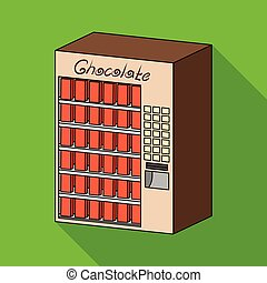 płaski, różny, rodzaje, symbol, web., isometric, ilustracja, terminal, jednorazowy, wektor, chocolate., terminals, ikona, styl, pień