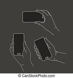 płaski, różny, smartphone, collection., nowoczesny, wektor, projektować, siła robocza
