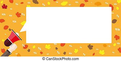 płaski, ręka, chodnikowiec, mowa, liście, upadek, bullhorn, percents, bańka