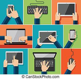 płaski, ręka, urządzenia, ikony
