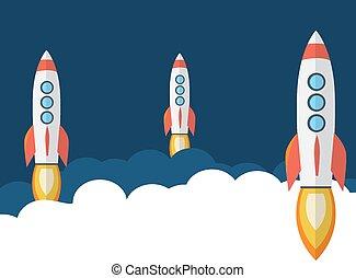 płaski, rakieta, podróż kosmiczna, statek, style.