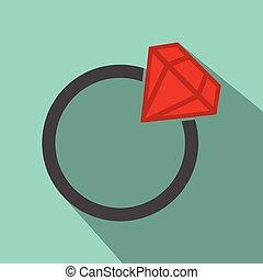 płaski, ring, ślub