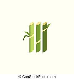 płaski, roślina, trzcina, nóżki, sugarcane, -, cukier, produkcja zagrody, zielony, geometryczny, ikona